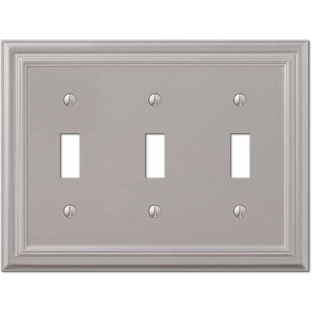 Hand Painted Wall Plate (Continental Satin Nickel Cast Triple Toggle Wallplate )