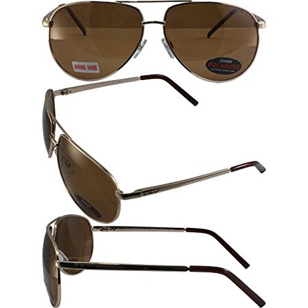 Bluewater Polarized Airforce Sunglasses Gold Frames Driving Mirror (T Force Sunglasses Price)