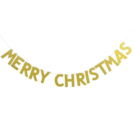 Paper MERRY CHRISTMAS Letters Ornament Photo Prop Bunting Banner Gold Tone - Merry Christmas Photo