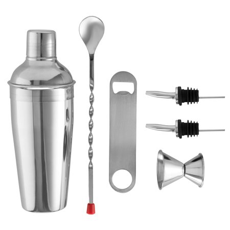 ShopoKus Expert Cocktail Shaker Home Bar Tool Set Stainless Steel Bar Set with Shaking Tin, Bar Spoon, Double Jigger, 2 Stainless Steel Bottle Pourers, Tapered Spout, and Flat Bottle Opener (6 Piece)