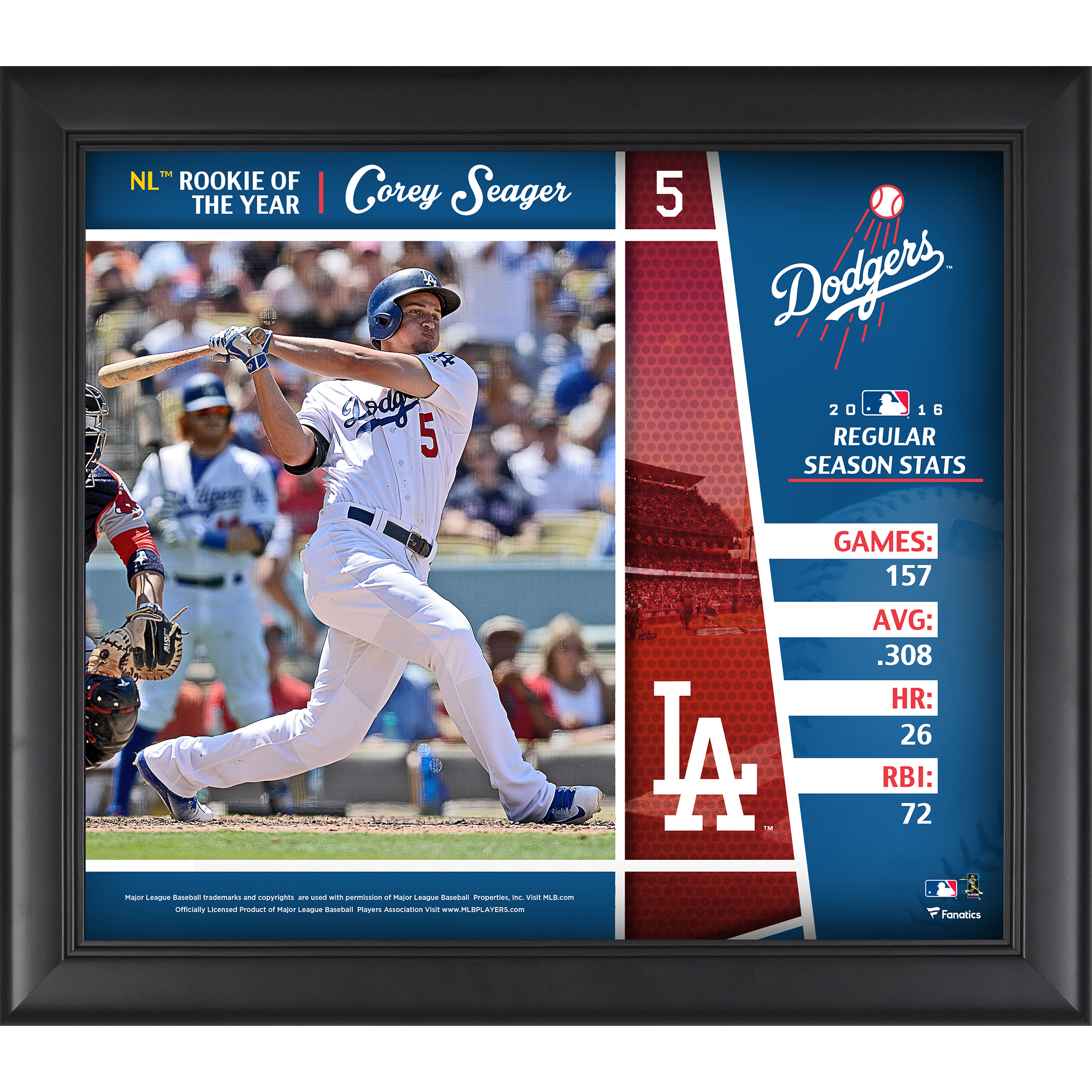 """Corey Seager Los Angeles Dodgers Fanatics Authentic Framed 15"""" x 17"""" 2016 National League Rookie of the Year Collage - No Size"""