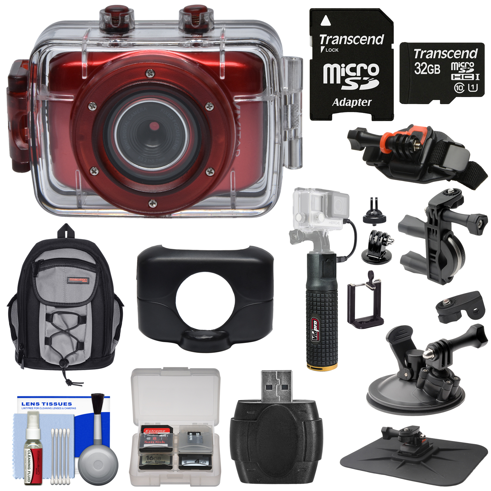 Vivitar DVR781HD HD Waterproof Action Video Camera Camcorder (Red) with 32GB Card + Suction Cup, Helmet, Bike Mounts + Backpack + Battery Grip Kit