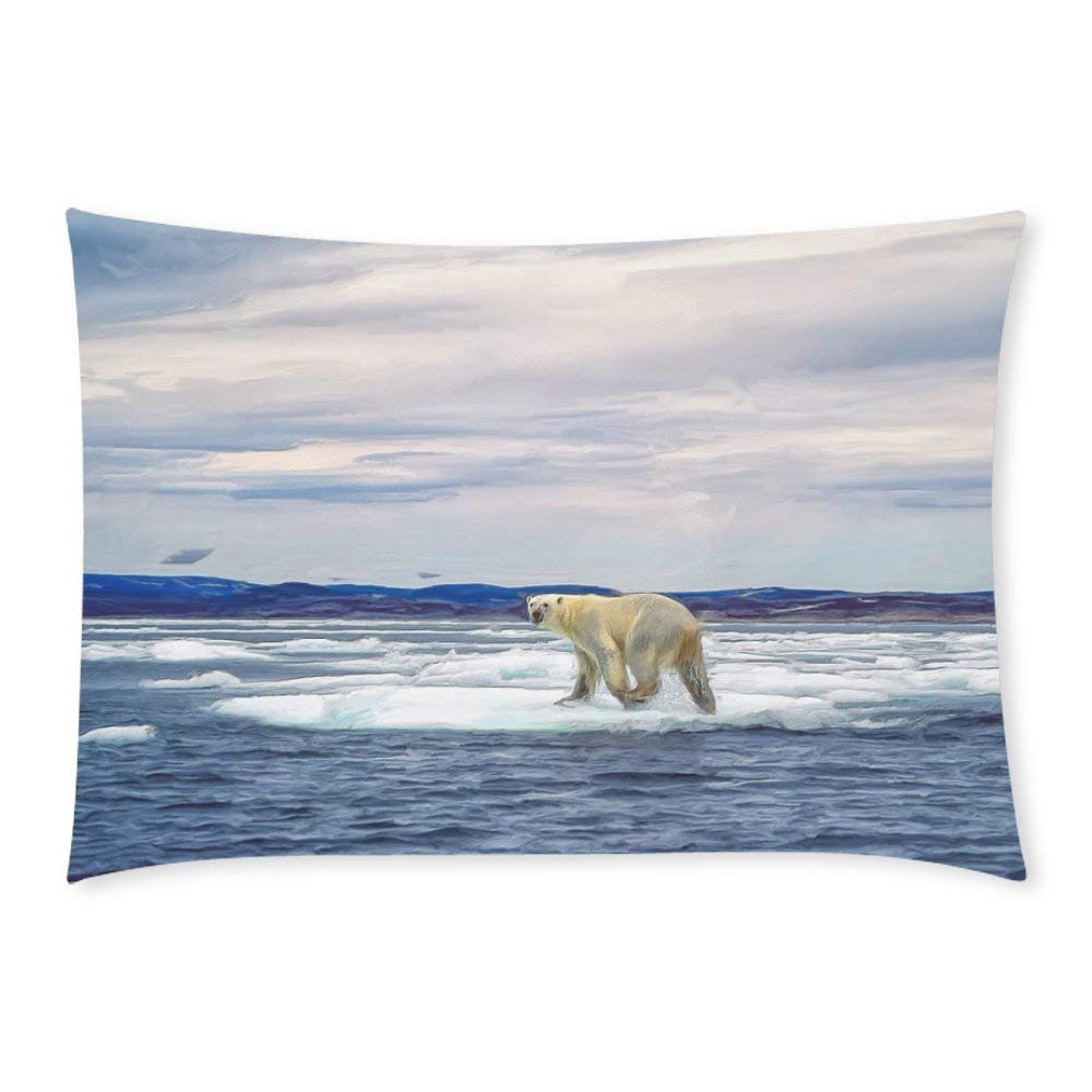 BPBOP Polar Bear on Ice Floe Pillow Case Pillow Cover Two Sides Printing 20x30 inches