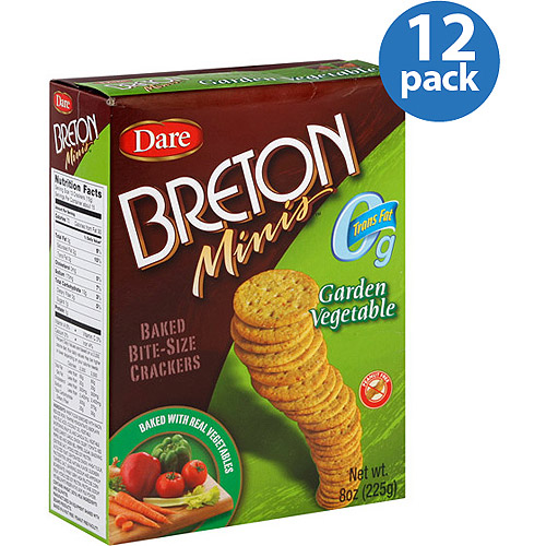 Dare Breton Minis Garden Vegetable Crackers, 8 oz, (Pack of 12)