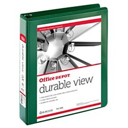 """Office Depot® Brand Durable View Round-Ring Binder, 1 1/2"""" Rings, 61% Recycled, Dark Green"""