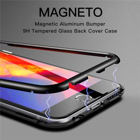on sale 6d7c1 55466 Magnetic Adsorption metal case For Apple iphone X 10 luxury tempered glass  back cover