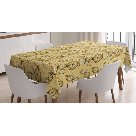 Compass Tablecloth, London Moscow Paris Sydney Traveling Around the World Theme Illustration, Rectangular Table Cover for Dining Room Kitchen, 60 X 84 Inches, Mustard Multicolor, by Ambesonne