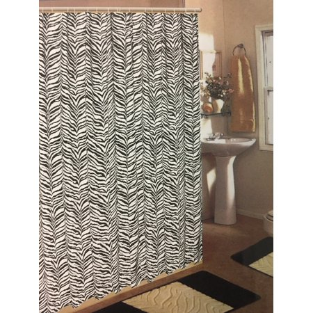 Black Zebra Print 15 Piece Jacquard Bathroom Set 2 Rugs Mats 1