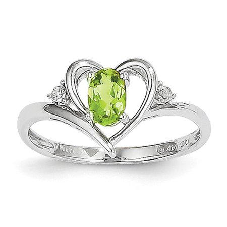 (14k White Gold 6x4 Oval Genuine Peridot Diamond Ring. Gem Wt- 0.46ct)