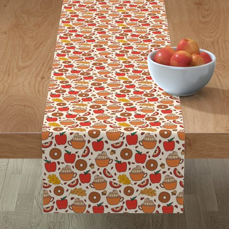 Image of Table Runner Jayme Hennel Fall Autumn Apples Cider Donuts Apple Cotton Sateen