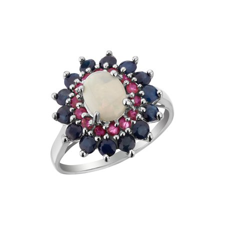 Blue Sapphire, Ruby, Created Opal Ring 3.00 Carats (ctw) in Sterling Silver - image 2 of 2