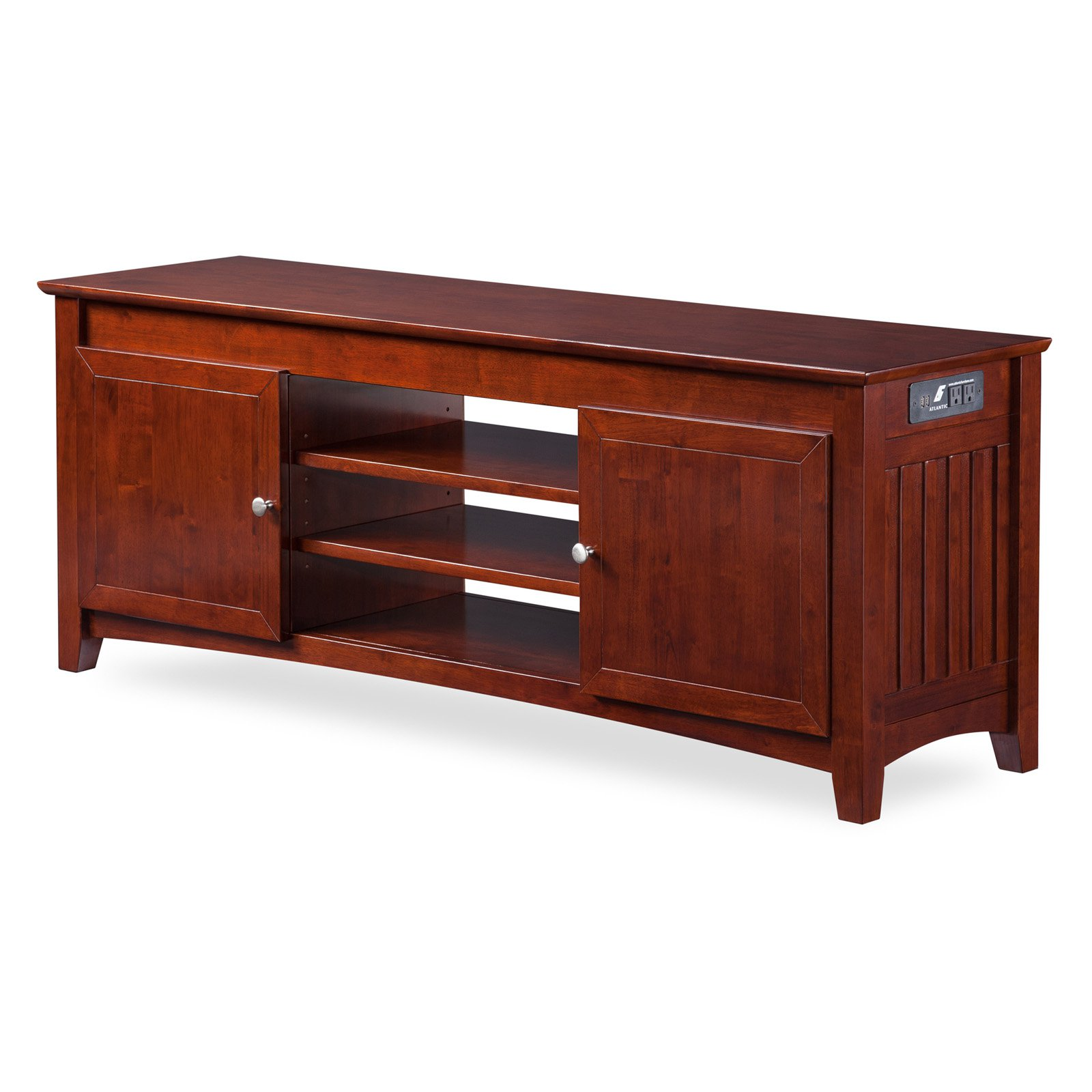 Mission TV Table 24x60 with Adjustable Shelves and Charging Station in Walnut