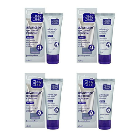 Advantage Skis - Clean & Clear Advantage Spot Control Moisturizer, Oil-Free, 40ml/1.35oz (Pack of 4) + Schick Slim Twin ST for Dry Skin