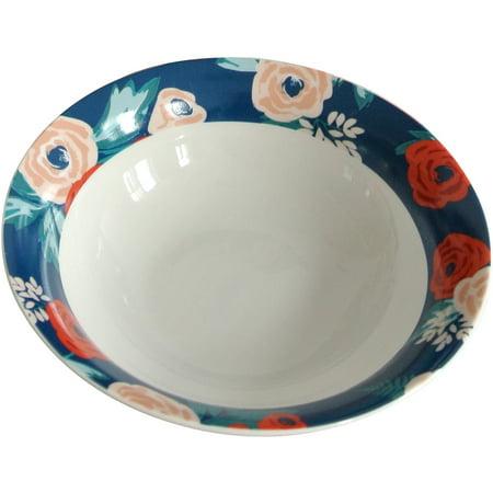 Mainstays Navy Floral 4-Pack Stoneware (Pfaltzgraff Stoneware Bowls)