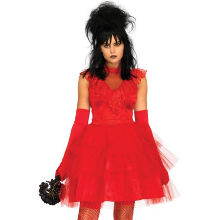 Leg Avenue Women's 2 PC Lydia Beetle Bride Costume, Red, - Horror Bride Costume
