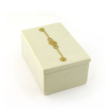 Desk Accessories Pencil Cup Trinket Box Tray Soft White Soapstone w Brass Emblems (Trinket (Brass Trinket)