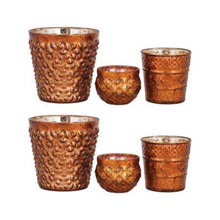 Pomeroy Morocco Glass Candle Holder Set Of 6 In Antique Copper Finish  396205/S6