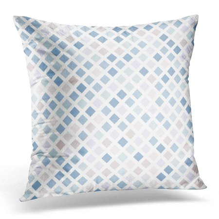 White Grid (ARHOME Simple Abstract Mosaic on White Shades of Blue and Beige Grid Pillows case 20x20 Inches Home Decor Sofa Cushion Cover)