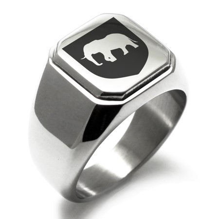 Stainless Steel Elephant Strength Coat of Arms Shield Engraved Square Flat Top Biker Style Polished Signet Ring