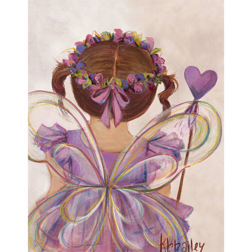 Oopsy Daisy - Little Fairy Princess - Brunette Canvas Wall Art 14x18, Kristina Bass Bailey
