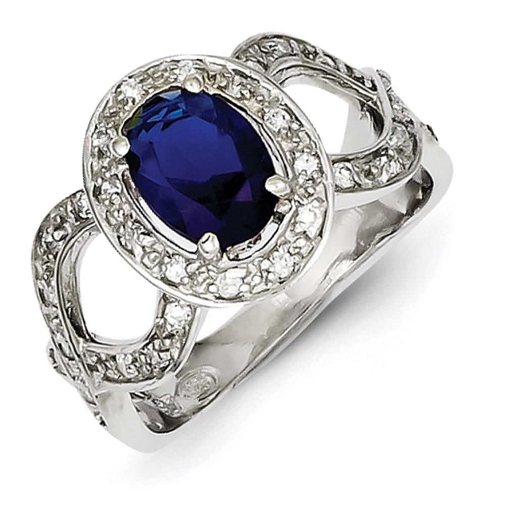 925 Sterling Silver Rhodium Plated Oval Dark Blue CZ Fancy Ring Size 6