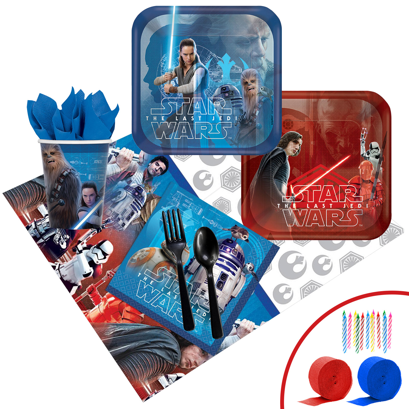 Star Wars Episode VIII: The Last Jedi Deluxe Party Tableware Kit (Serves 8)