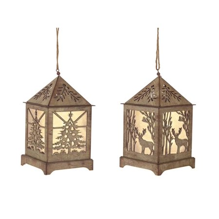 Set of 8 Brown LED Holiday Lanterns With Six Hour Timer 6.5