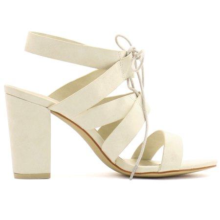 Unique Bargains Women's Chunky High Heels Cutout Detail Lace Up Sandals Beige (Size 6) - image 3 of 7