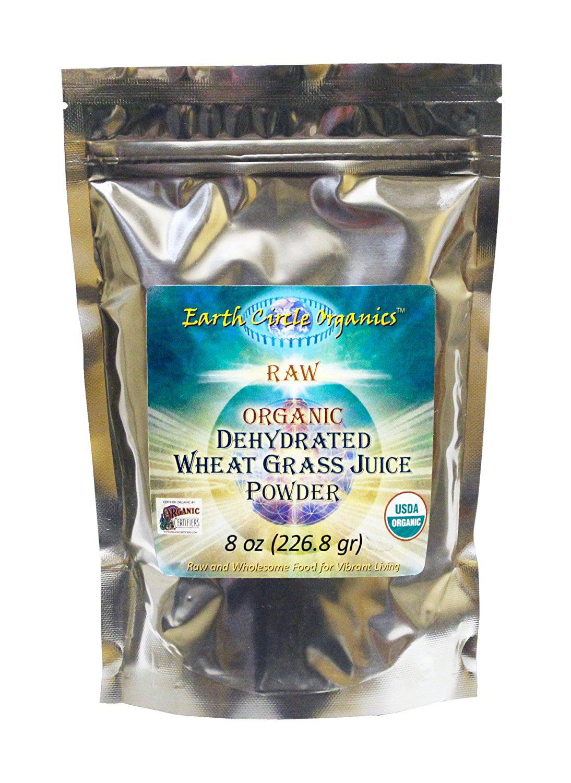 Raw Organic Dehydrated Wheatgrass Juice Powder 8 oz (226.7 grams) Pkg By Earth Circle Organics by