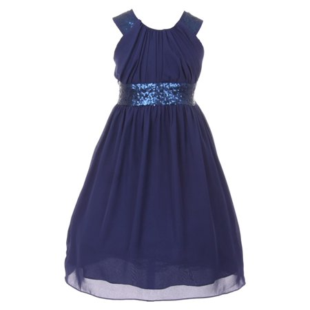 Cinderella Couture Big Girls Navy Dazzling Sequin Pleated Dress