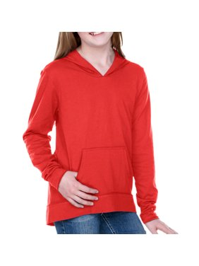 Kavio! Girls 7-16 Jersey RawEdge High Low Long Sleeve Hoodie w.Pouch Red XL