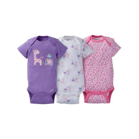 Newborn Baby Girl Assorted Short Sleeve Onesies Bodysuits, 3-Pack - Nautical Baby Girl Clothes