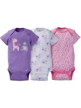 32ea71088 Product Image Newborn Baby Girl Assorted Short Sleeve Onesies Bodysuits, 3- Pack