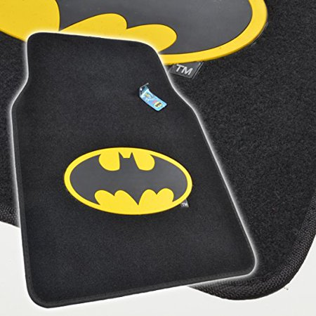 batman auto accessories interior kit front rear carpet floor mats steering wheel cover. Black Bedroom Furniture Sets. Home Design Ideas