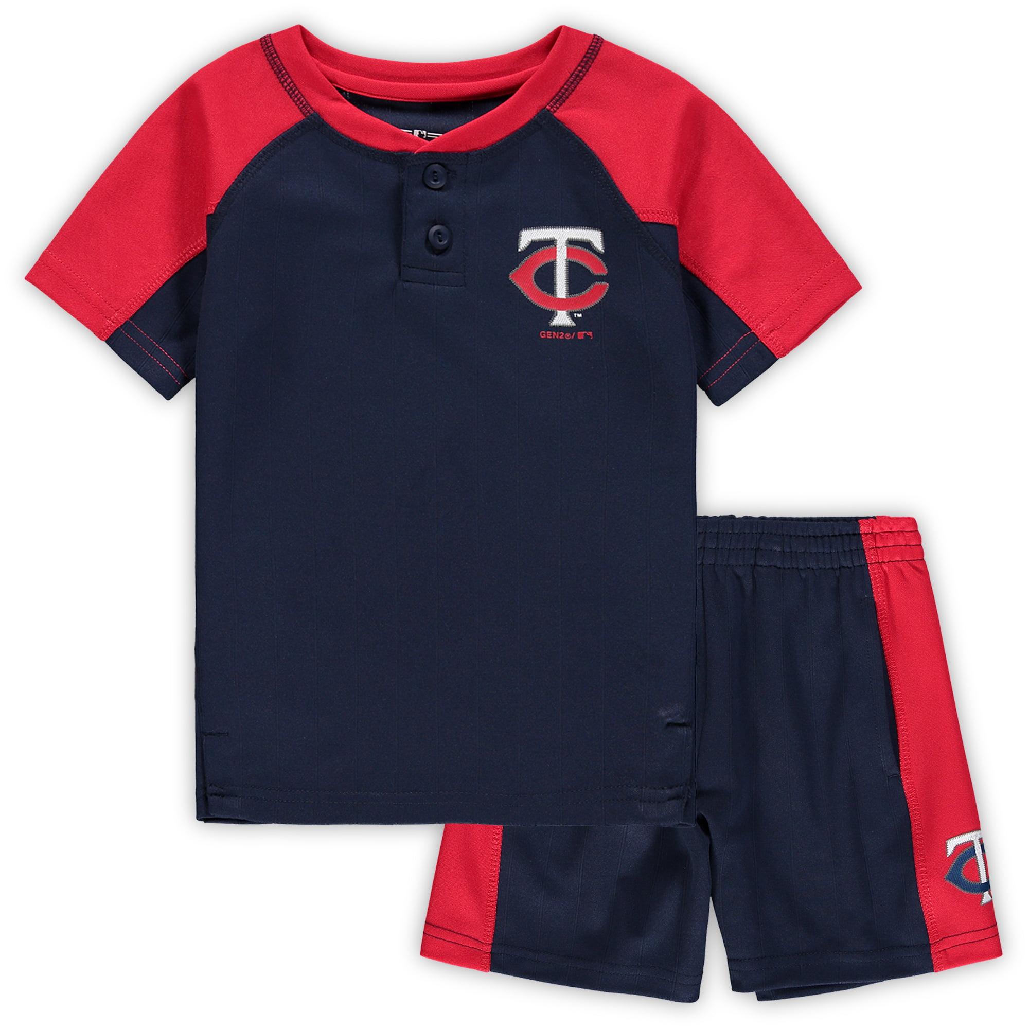 Minnesota Twins Toddler Play Strong Henley T-Shirt & Shorts Set - Navy