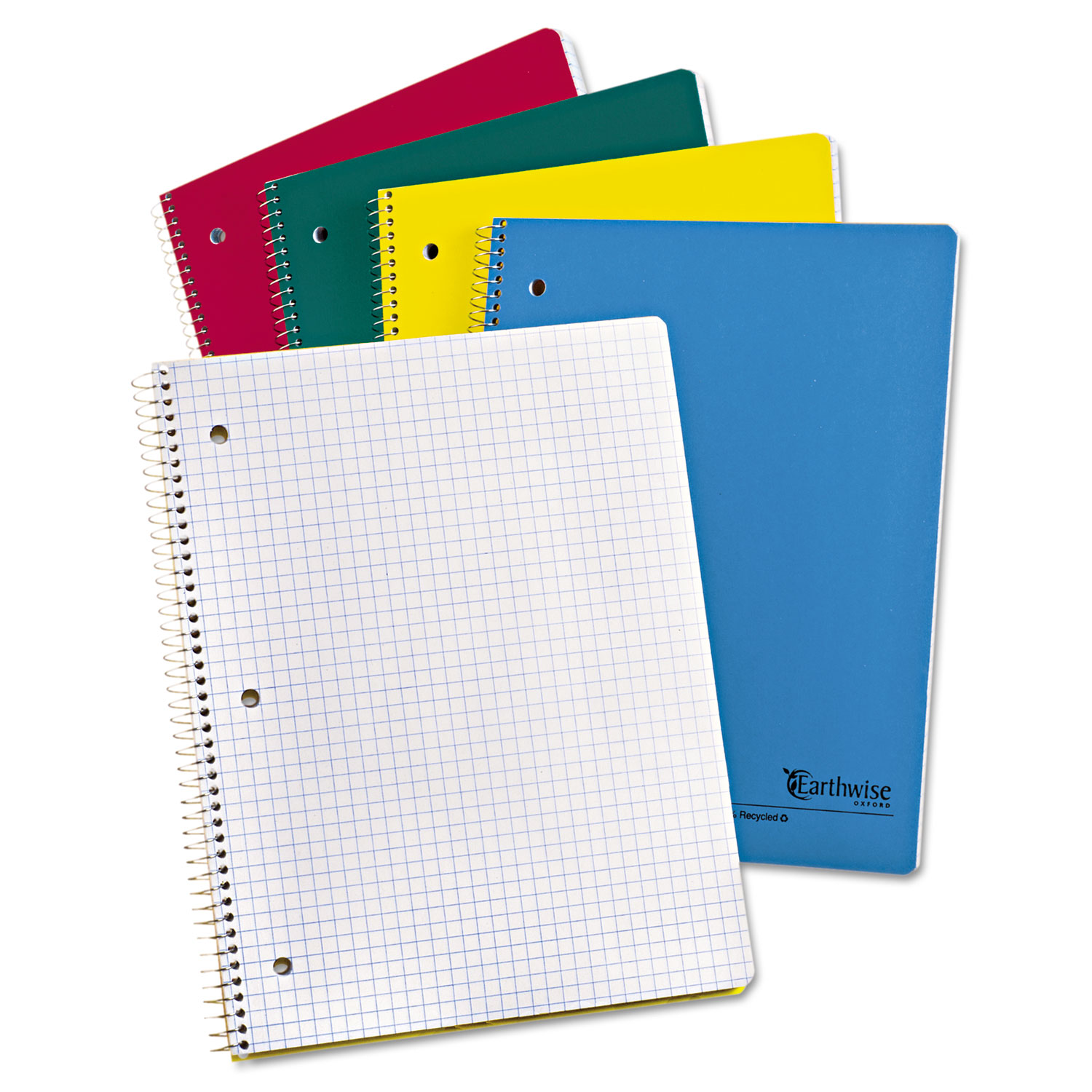 Earthwise by Oxford Recycled 1-Subject Notebooks, 11 x 8 1/2, 3 Hole, 80 Sheets
