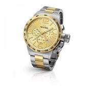 Mens XXL Chronograph Stainless Steel Case and Canteen Bracelet Gold Dial Two-tone Watch - CB54