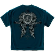 Law Enforcement Skull Wings Undead Police T-Shirt by , Navy Blue