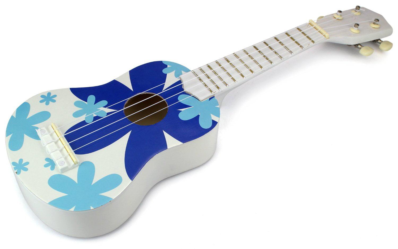Velocity Toys Classic Ukulele 4 Stringed Toy Guitar Lute Musical Instrument (White Blue) by Velocity Toys