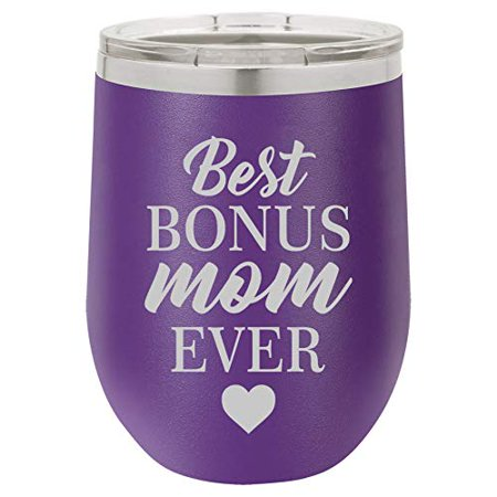 12 oz Double Wall Vacuum Insulated Stainless Steel Stemless Wine Tumbler Glass Coffee Travel Mug With Lid Best Bonus Mom Ever Step Mom Mother
