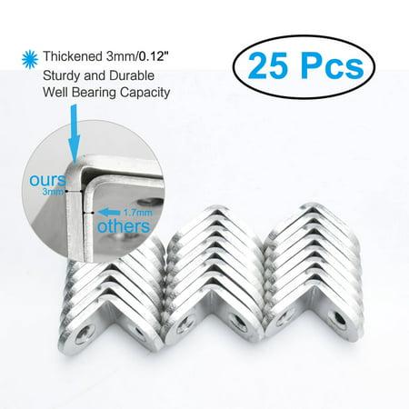 Angle Bracket Stainless Steel Corner Brace Fastener w Screws 20 x 20mm, 25pcs - image 6 of 7