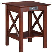 Lexi Printer Stand with Charging Station in Walnut or Caramel