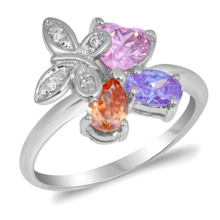 Multicolor Simulated CZ Butterfly Heart Teardrop Oval Ring ( Sizes 5 6 7 8 9 ) Sterling Silver Band Rings by Sac Silver (Size 9)