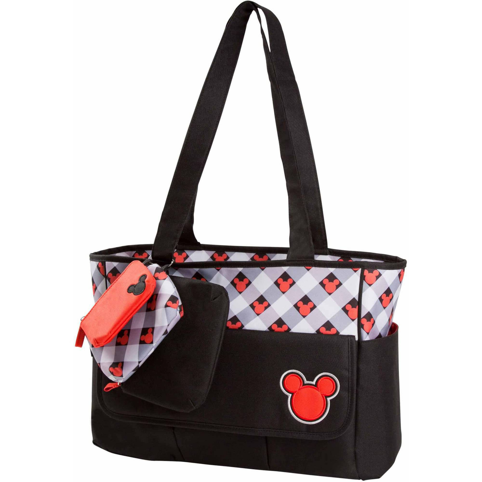 Disney Mickey Mouse Plaid Diaper Bag with 3 Zip Pouches