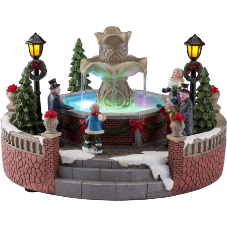 "Holiday Time Christmas Village 5"" Battery Operated Holiday Fountain"