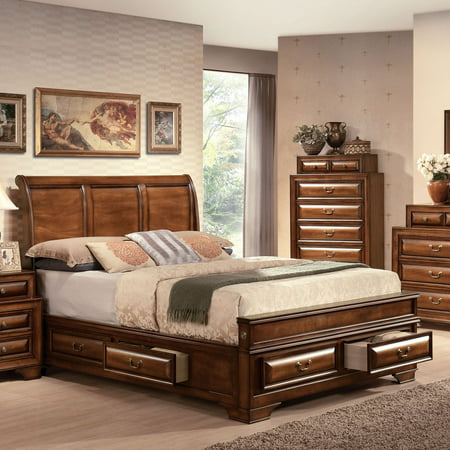ACME Konane Eastern King Bed with Storage in Brown Cherry, Multiple Sizes