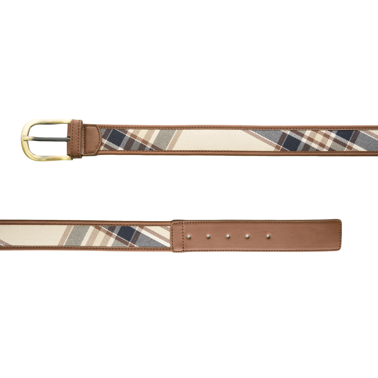 Belstaff Women's Leather Single Hole Check Belt 75cm Cava...