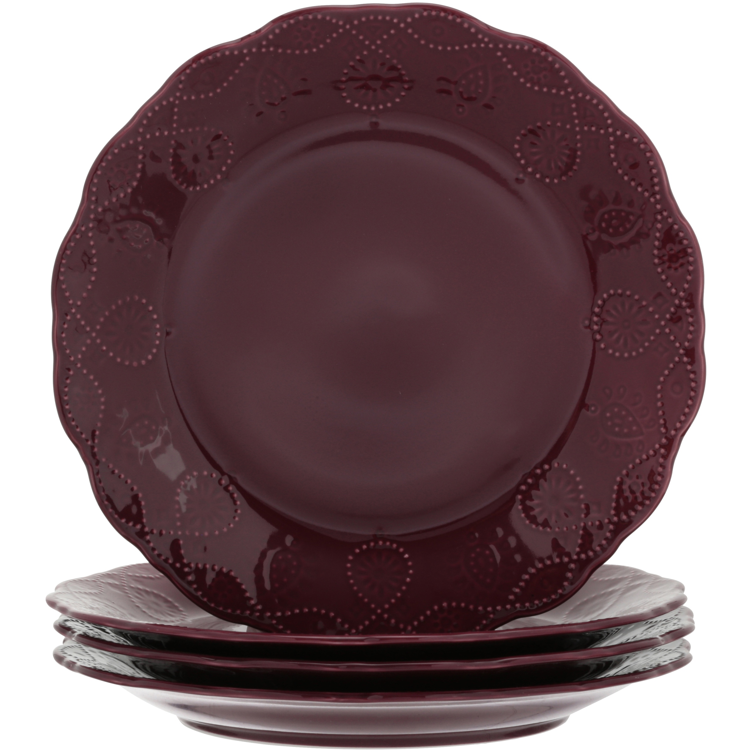 The Pioneer Woman Cowgirl Lace Transparent Glaze 4-Pack Dinner Plates