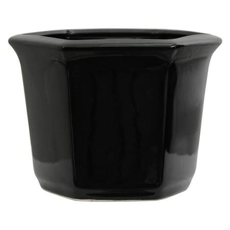 Oriental Furniture Solid Black Porcelain Flower Pot