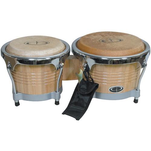 """GP Percussion Pro-Series Tunable 6.5""""/8"""" Bongos, Natural"""